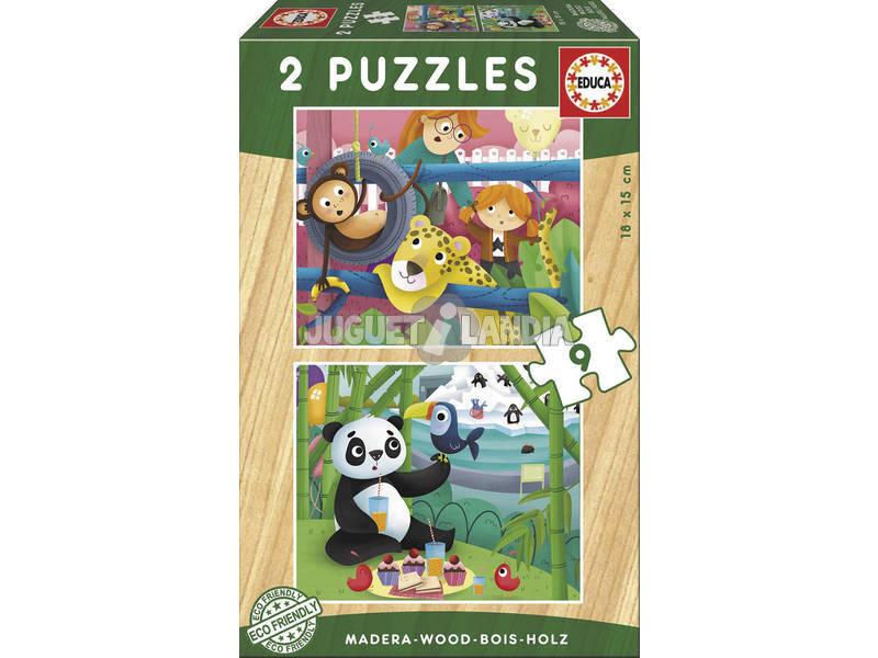 Puzzle Madeira 2x9 Animais Zoo Educa 17616
