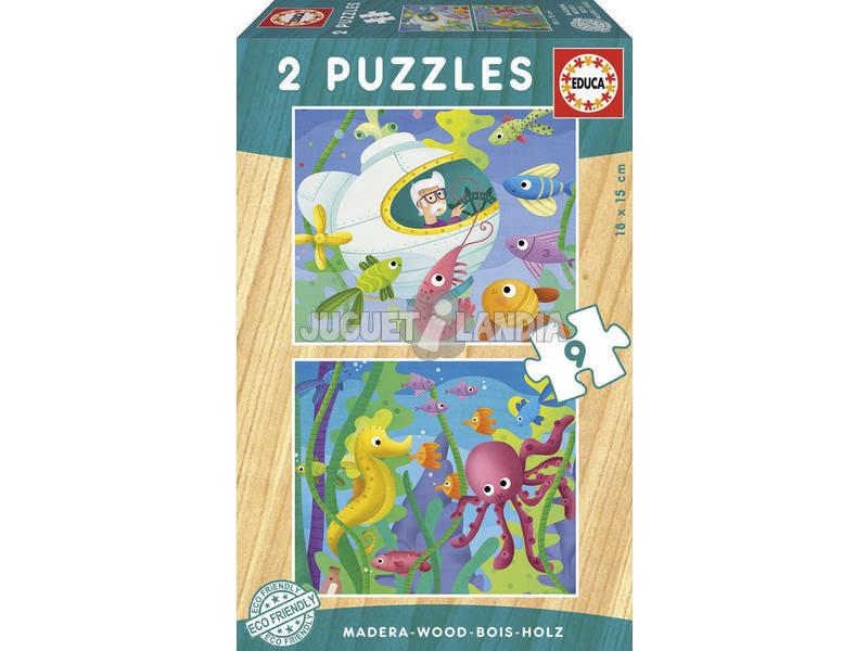 Puzzle Madeira 2x9 Animais Aquáticos Educa 17617
