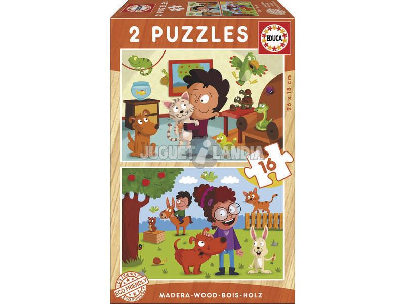 Puzzle Madeira 2x16 Animais de Estimação Educa 17618