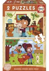 imagen Puzzle Madera 2x16 Animales Mascotas Educa 17618