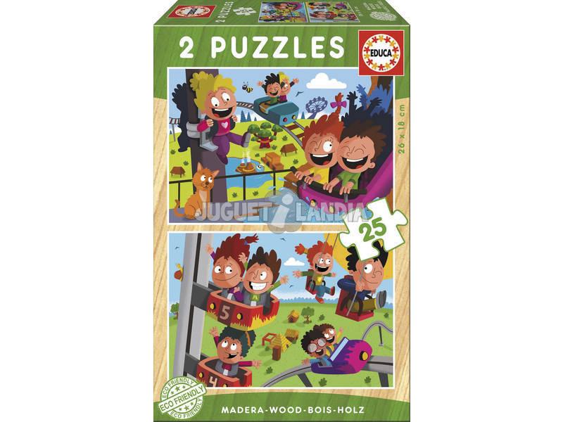 Puzzle di Legno 2x25 Parco Divertimenti Educa 17620