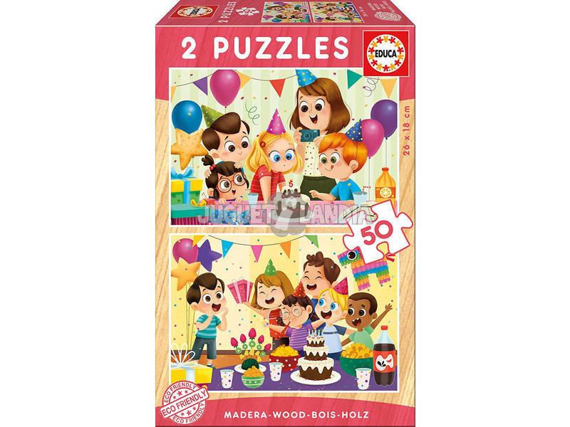 Puzzle di Legno 2x50 Festa Compleanno Educa 17621