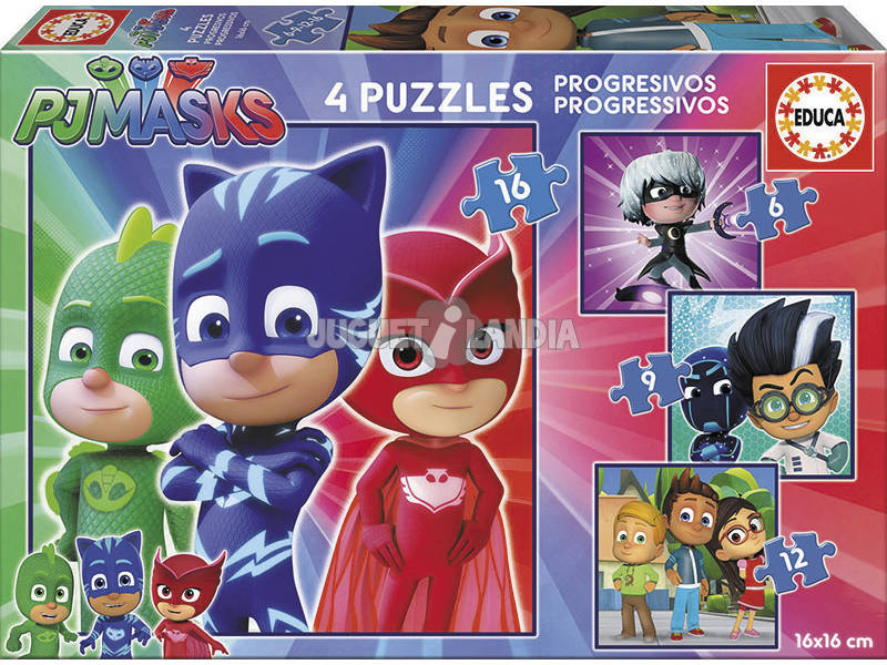 Puzzle PJ Masks Progresivos 6-9-12-16 Educa 17731