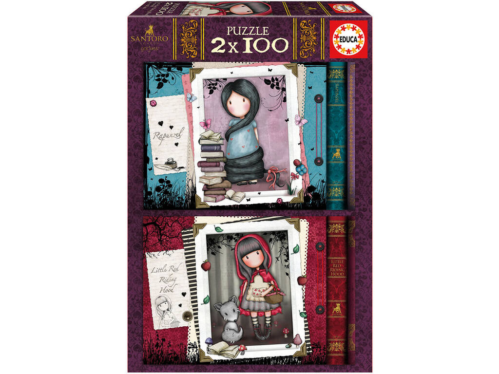 Puzzle 2x100 Gorjuss Little Red Riding Hood + Rapunzel Educa 17822