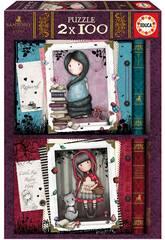 Puzzle 2x100 Gorjuss Little Red Riding Hood + Rapunzel Educa 17822