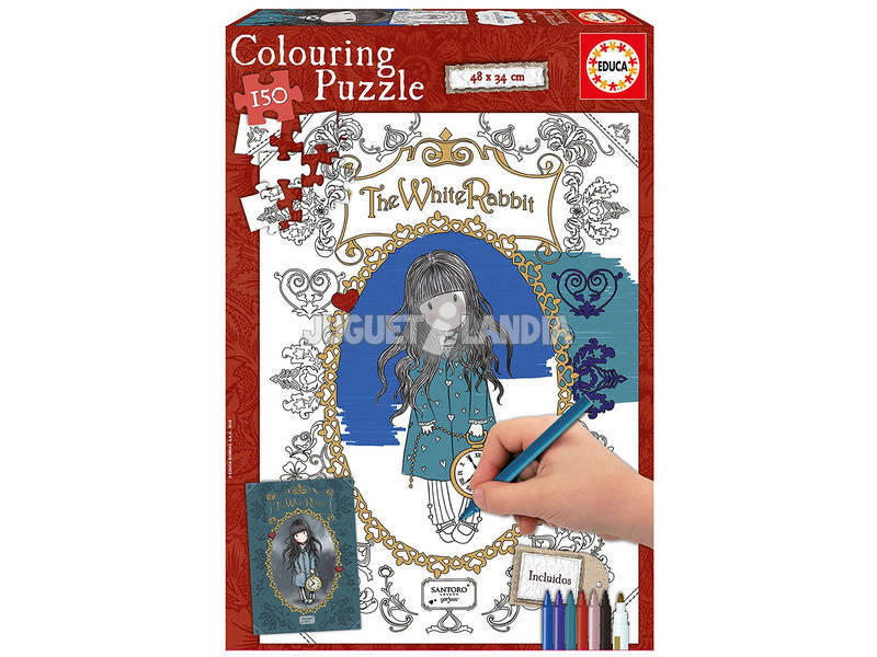 Puzzle 150 The White Rabbit Gorjuss Colorear Educa 17820
