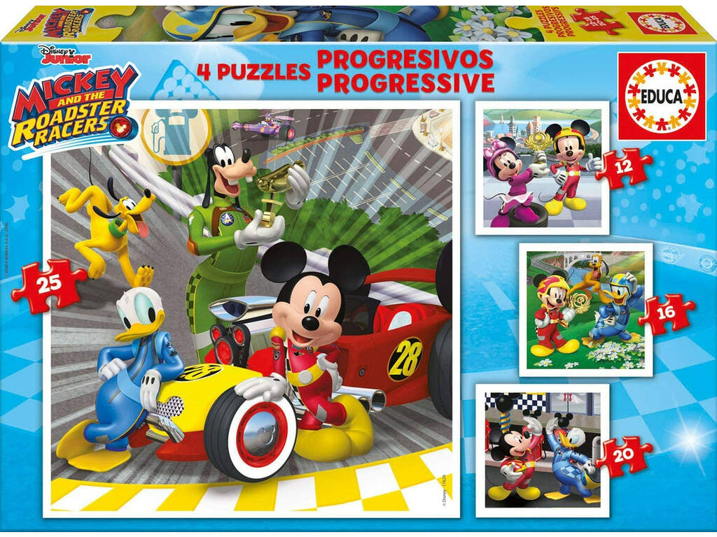 Puzzle Progresivos 12-16-20-25 Mickey y Los Superpilotos Educa 17629