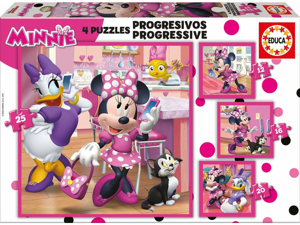 Puzzle Progresivos 12-16-20-25 Minnie Happy Helpers Educa 17630