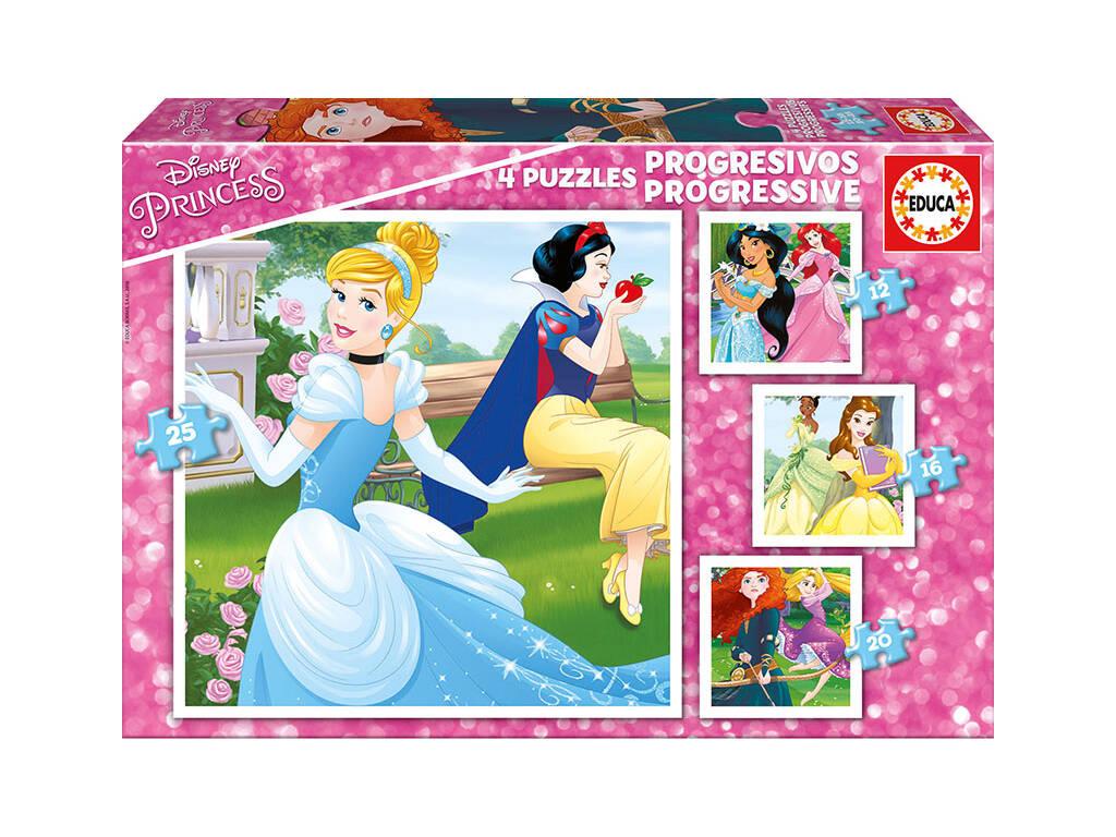 Puzzle Progressivos 12-16-20-25 Princesas Disney Educa 17166