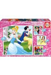 Puzzle Progressiv 12-16-20-25 Prinzessinnen Disney Educa 17166