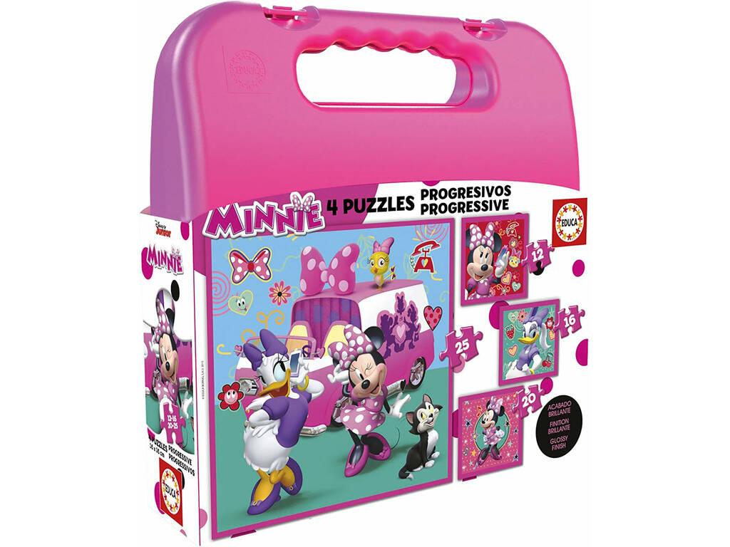 Puzzle Progresivos Minnie 12-16-20-25 con Maletín
