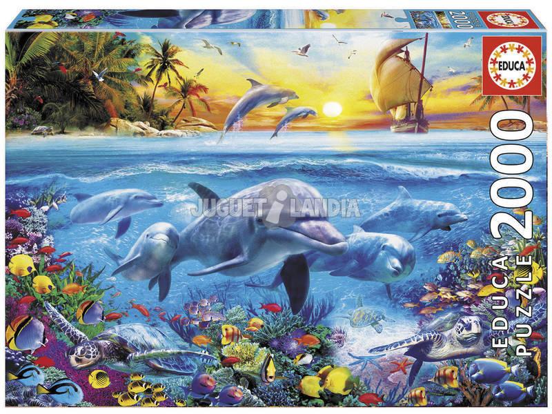 Quebra-cabeça 2000 Família de Golfinhos Educa 17672