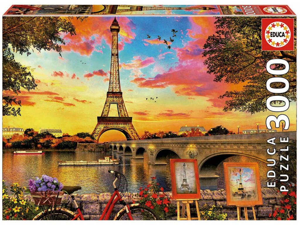 Puzzle 3000 Tramonto a Parigi Educa 17675