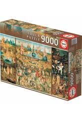 Puzzle 9.000 Gartens der irdischen Freuden Educa 14831