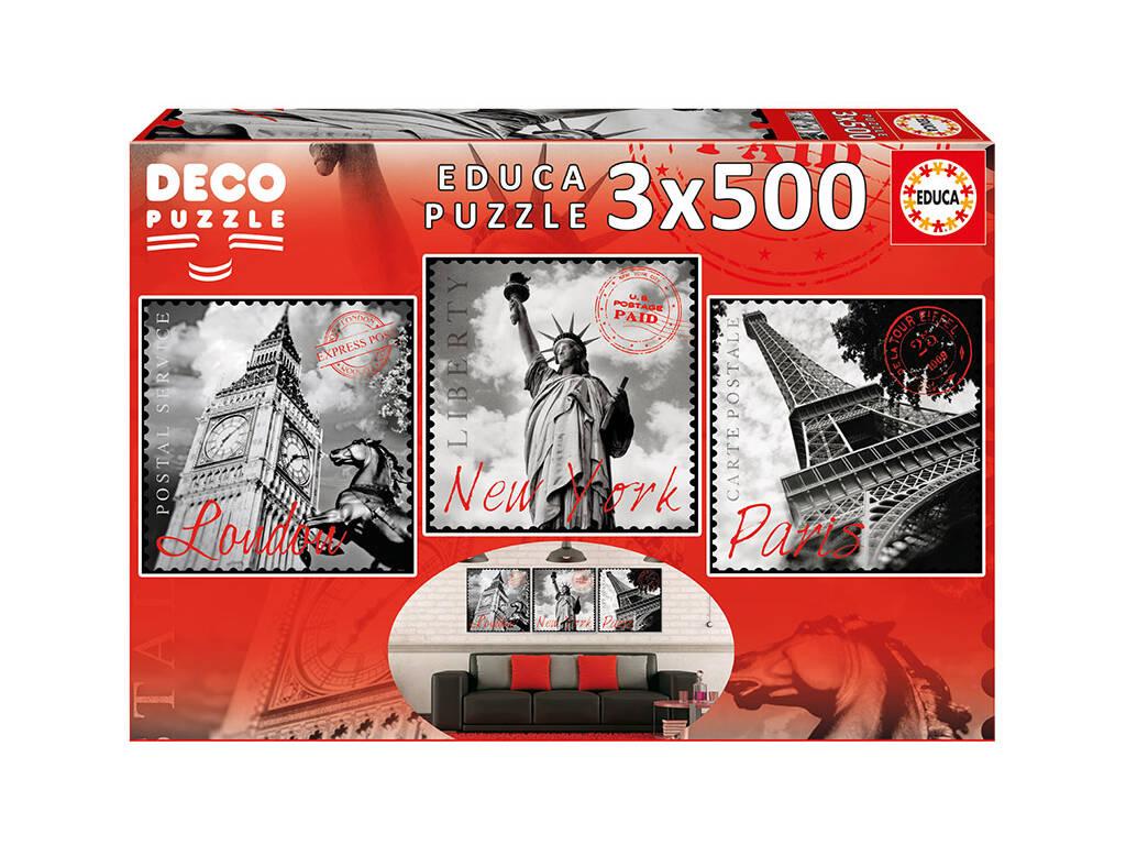 Puzzle 3x500 Grandes Cidades Educa 17096