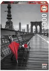 imagen Puzzle 1000 Paraguas Rojo, Puente De Brooklyn Educa 17691