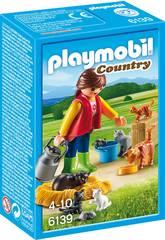 Playmobil mulher com família de gatos