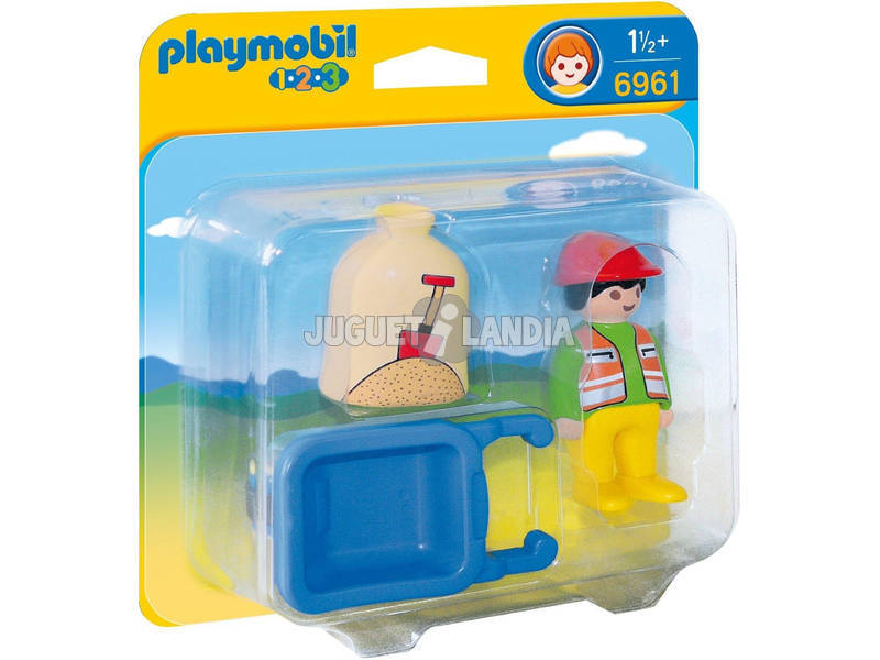 Playmobil 1,2,3 Operaio con Cariola