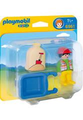 imagen Playmobil 1,2,3 Trabajador con Carretilla