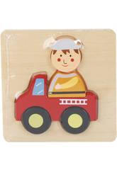 Puzzle en Bois Camion de Pompiers
