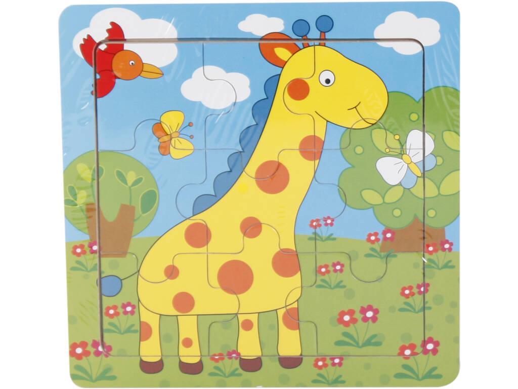 Puzzle Madera Jirafita 9 Piezas 15x15cm.