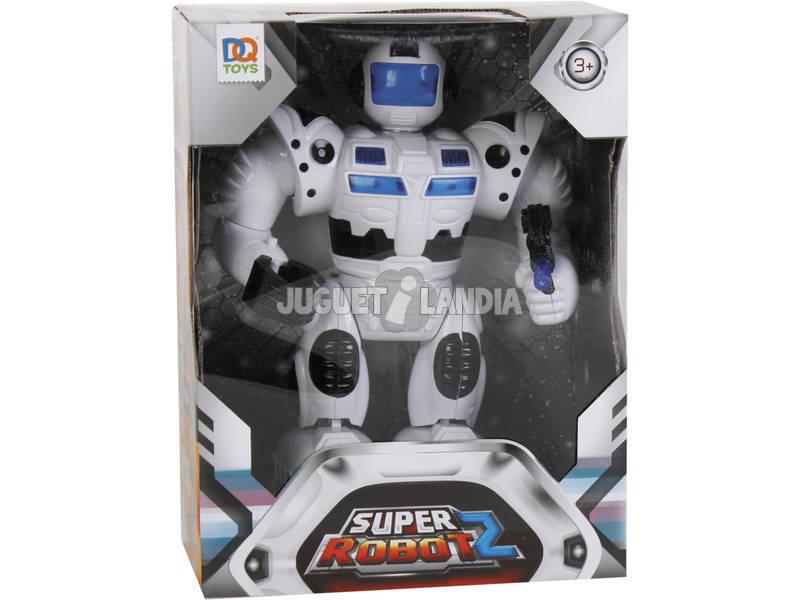 Super Robô Branco Luzes e Sons 25x19x7cm