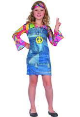 Disfraz Hippie Vaquera Niña Talla L