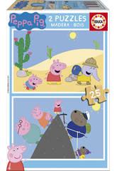 Puzzle 2x25 Peppa Pig 26x18 cm EDUCA 17158