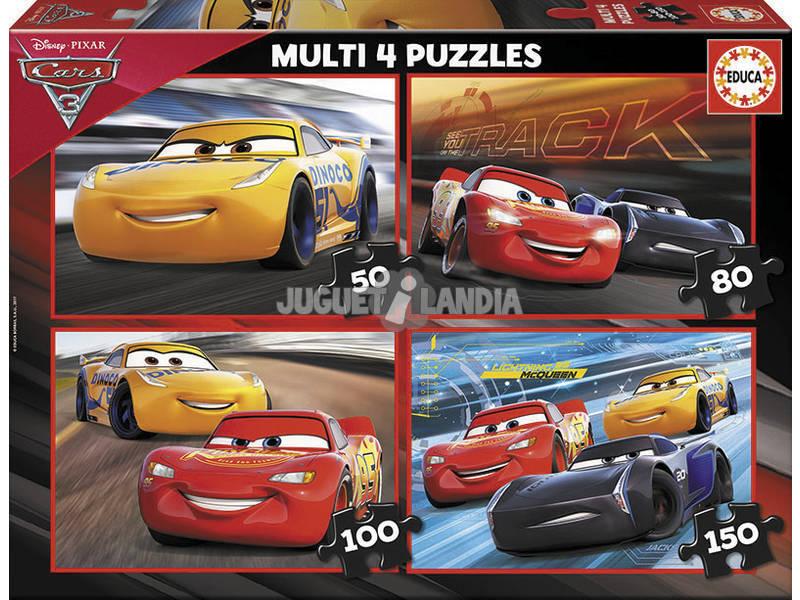 Puzzle Multi 4 50-80-100-150 Cars Educa 17179