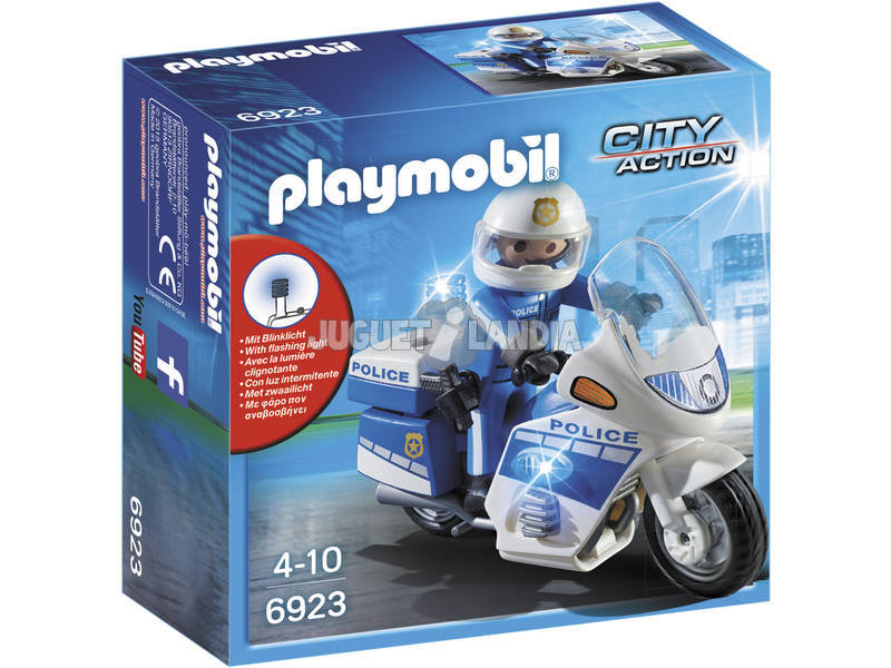 Playmobil Policía Con Moto y Luces Led 6923