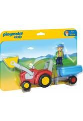 Playmobil 1,2,3 Fermier Avec Tracteur et Remorque