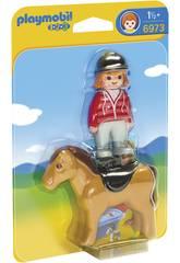 imagen Playmobil 1,2,3 Jinete con Caballo 6973