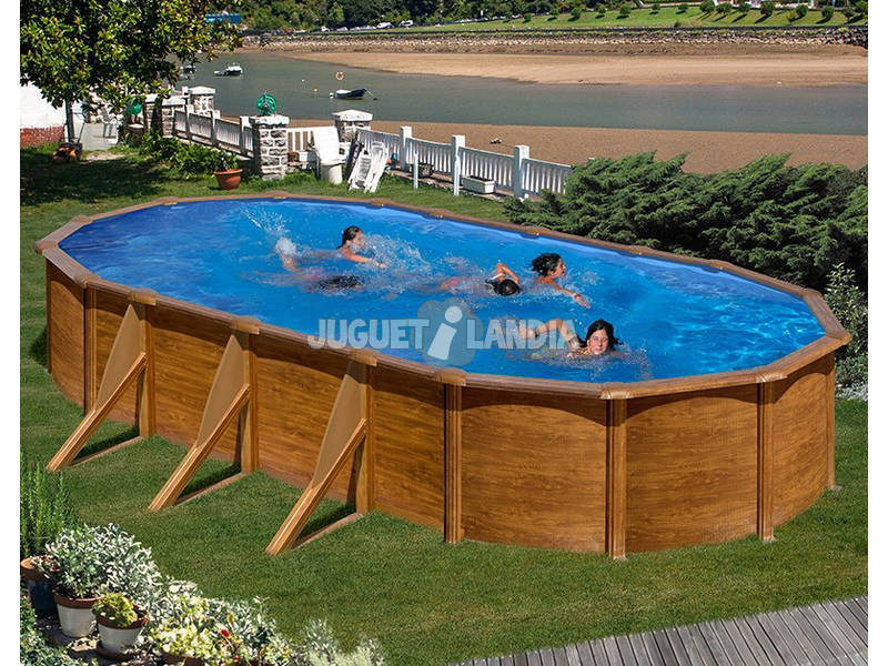 acheter piscine gre pacific imitation bois 500x350x120 cm juguetilandia. Black Bedroom Furniture Sets. Home Design Ideas
