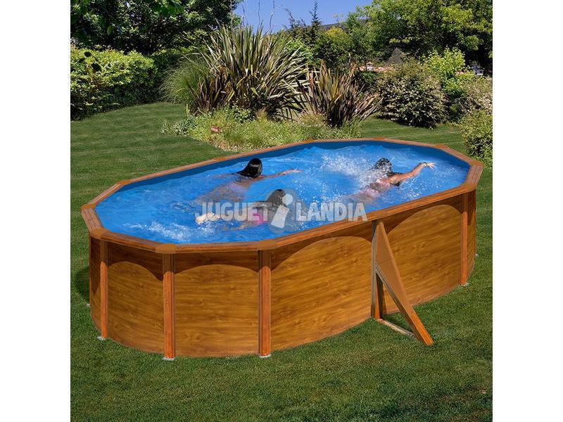 Acheter piscine gre sicilia imitation bois ovale for Piscine tubulaire imitation bois