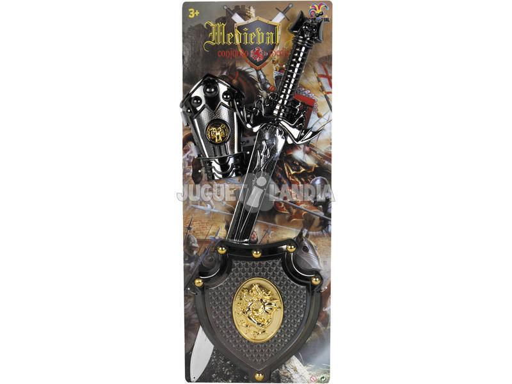 Set Cavaleiro do Dragão Dourado com Espada, Escudo e Bracelete