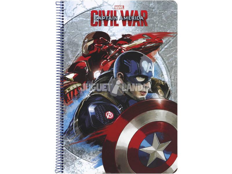 Caderno Folio Capas Duras 80 h. Capitão America