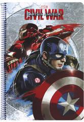 Libreta Folio Tapas Duras 80 h. Capitan America