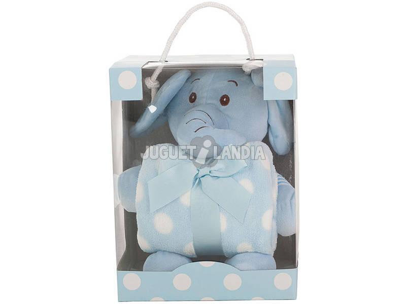 Peluche Elefante Azul 26 cm Com Mantinha Llopis 25413