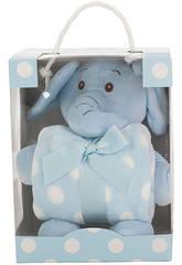 Peluche Elefante Azul 26 cm Con Mantita Llopis 25413