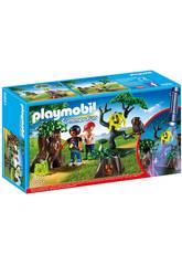 Playmobil Enfants avec Végétation et Lampe Torche