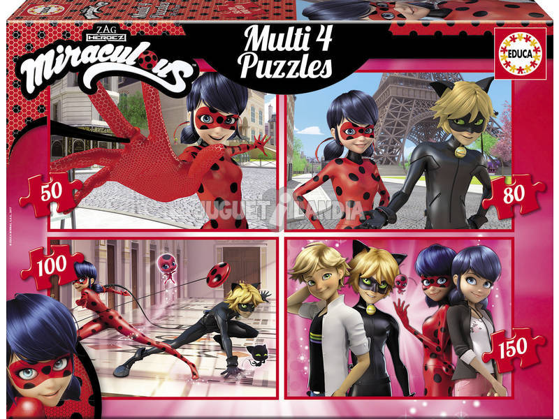 Puzzle Multi 4 50 - 80 - 100 - 150 Ladybug Educa 17466