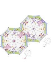 Parapluie 48/8 Manuel Transparent avec Dôme Peppa Pig Bissetti PP11530