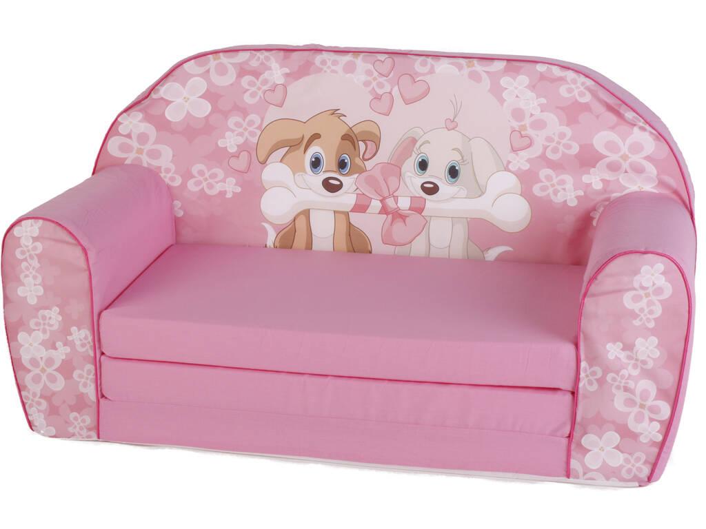 Sofá Cãezinhos Osso Rosa
