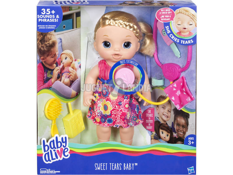 Boneca Baby Alive Mimos e Cuidados Acessórioss Luzes e Sons 34 cm HASBRO C0957