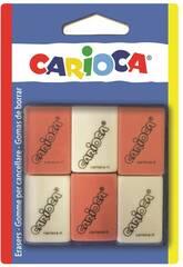 imagen Gomas Borrar Cuadradas 6 unidades Carioca 42863