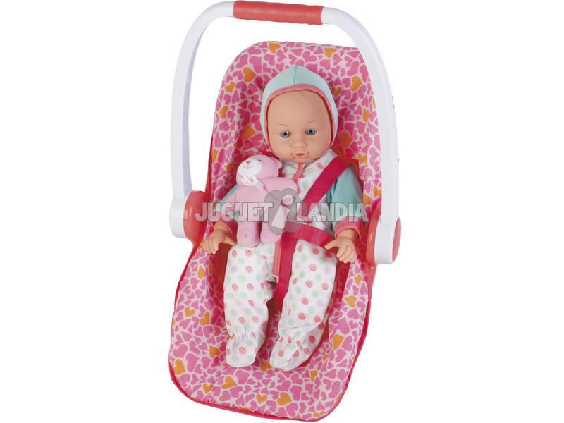 Boneca Bebé 35cm com cadeirinha de Viagem