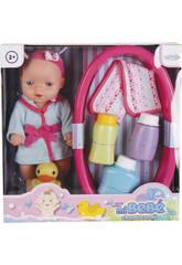 Bambola Bebè 25 cm con Set da Bagno