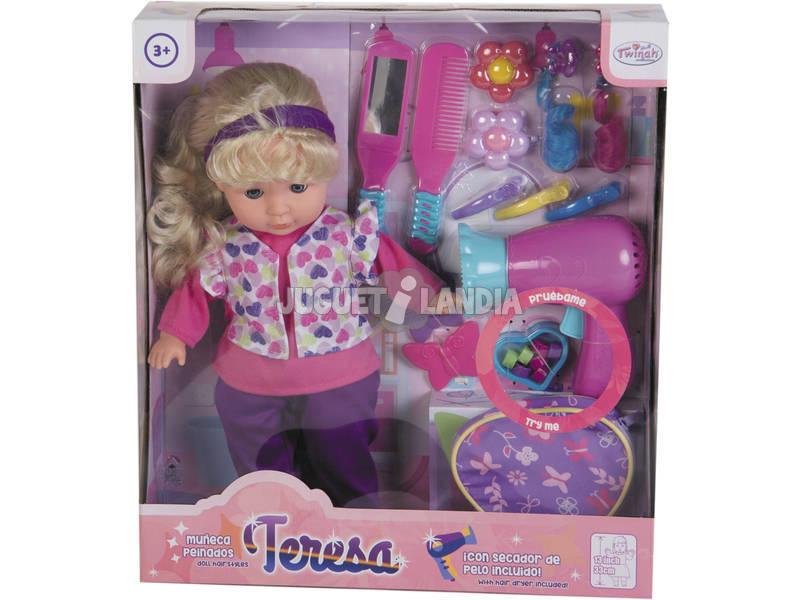 Boneca 33cm Teresa com Secador e Acessórios Cabelo