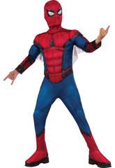 Disfraz Niño Spiderman Con Máscara y Pecho Musculoso Talla M