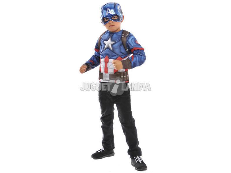 Disfarce Menino Capitão América Musculado Com Máscara Rubies 34102